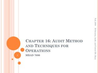 Chapter 16: Audit Method and Techniques for Operations