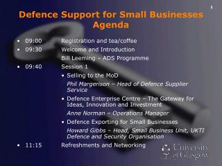 Defence Support for Small Businesses Agenda