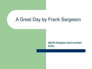 A Great Day by Frank Sargeson