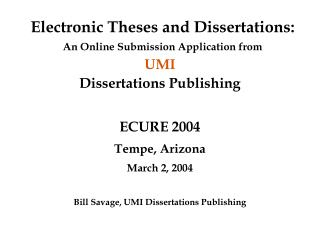 Electronic Theses and Dissertations: An Online Submission Application from