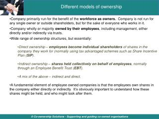 Different models of ownership