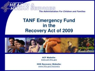 TANF Emergency Fund  in the  Recovery Act of 2009