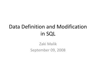 Data Definition and Modification in SQL