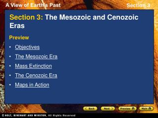 Section 3: The Mesozoic and Cenozoic Eras