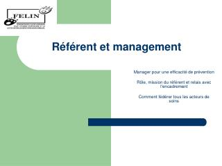 R�f�rent et management