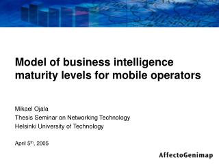 Model of business intelligence maturity levels for mobile operators