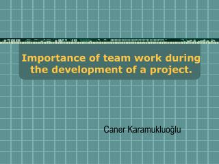 Importance of team work during the development of a project.