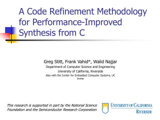 A Code Refinement Methodology for Performance-Improved Synthesis from C