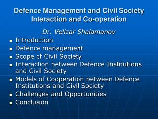 Defence Management and Civil Society Interaction and Co-operation
