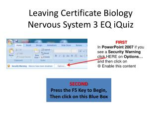 Leaving Certificate Biology Nervous System 3 EQ iQuiz
