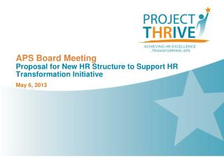 APS Board Meeting Proposal for New HR Structure to Support HR Transformation Initiative
