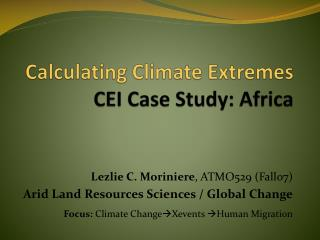 Calculating Climate Extremes   CEI Case Study: Africa