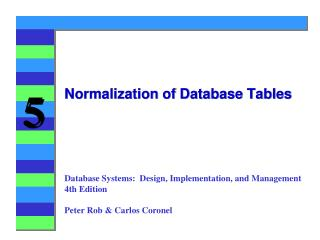 Normalization  of Database Tables