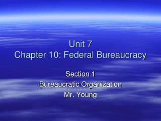 Unit 7 Chapter 10: Federal Bureaucracy
