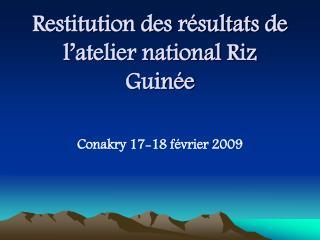 Restitution des résultats de l'atelier national Riz Guinée