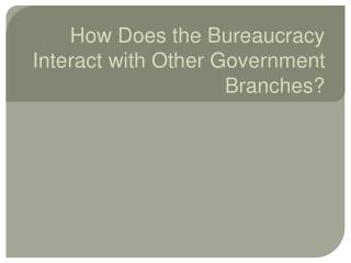 How Does the Bureaucracy Interact with Other Government Branches?