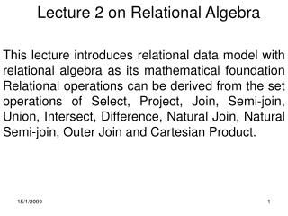 Lecture 2 on Relational Algebra