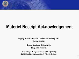 Materiel Receipt Acknowledgement