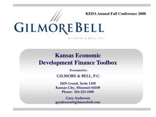 Kansas Economic Development Finance Toolbox