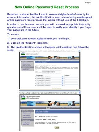 New Online Password Reset Process