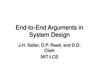 End-to-End Arguments in System Design