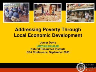 Addressing Poverty Through Local Economic Development