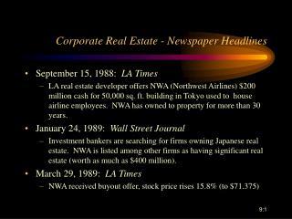 Corporate Real Estate - Newspaper Headlines