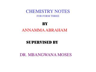 CHEMISTRY NOTES FOR FORM THREE