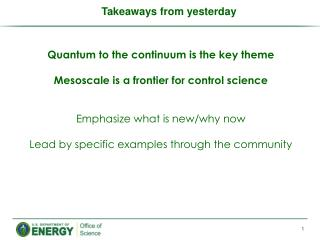 Quantum to the continuum is the key theme Mesoscale  is a frontier for control science
