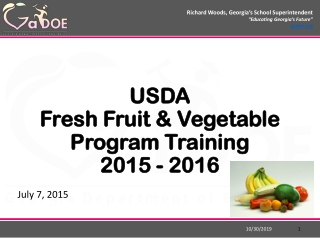 Fresh Fruit and  Vegetable Program Annual Training