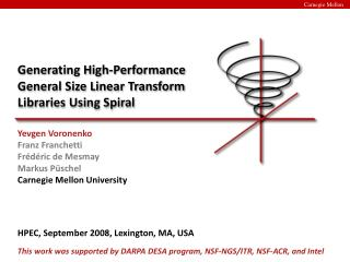 Generating High-Performance General Size Linear Transform Libraries Using Spiral