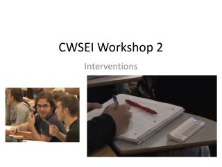 CWSEI Workshop 2