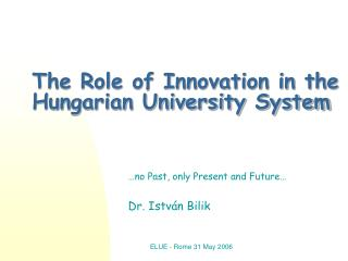 The Role of Innovation in the Hungarian University System