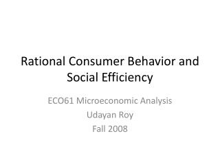 Rational Consumer Behavior and Social Efficiency