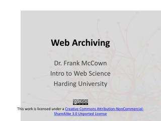 Web Archiving