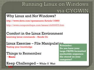 Running Linux on Windows   via  CYGWIN