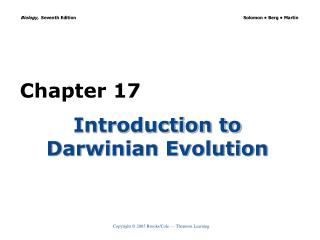 Introduction to Darwinian Evolution