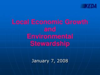 Local Economic Growth and  Environmental Stewardship