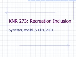 KNR 273: Recreation Inclusion