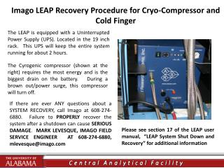 Imago LEAP Recovery Procedure for Cryo-Compressor and Cold Finger