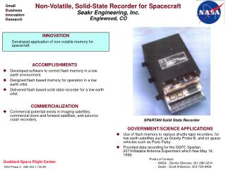 Non-Volatile, Solid-State Recorder for Spacecraft Seakr Engineering, Inc. Englewood, CO