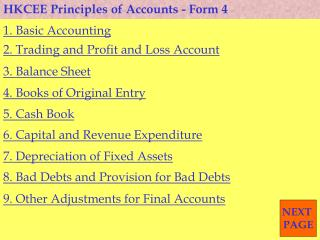 HKCEE Principles of Accounts - Form 4
