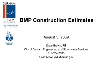BMP Construction Estimates