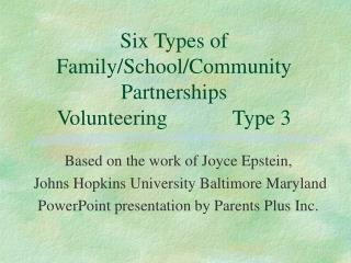 Six Types of Family/School/Community Partnerships Volunteering		Type 3