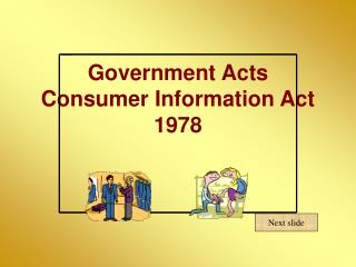 Government Acts Consumer Information Act 1978