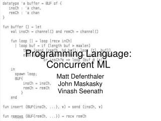 Programming Language: Concurrent ML