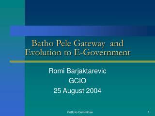 Batho Pele Gateway  and Evolution to E-Government