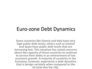 Euro-zone Debt Dynamics