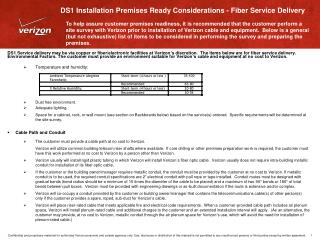 DS1 Installation Premises Ready Considerations - Fiber Service Delivery
