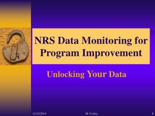 NRS Data Monitoring for Program Improvement